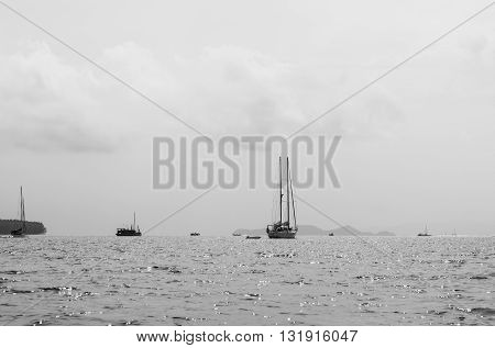 Yacht on ocean , vintage tone. black and white