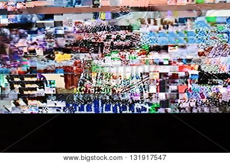 Television screen with static noise. Television bad signal. Television bad reception. Tv poor reception.