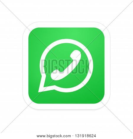 Vectro modern phone icon in bubble speech on white background