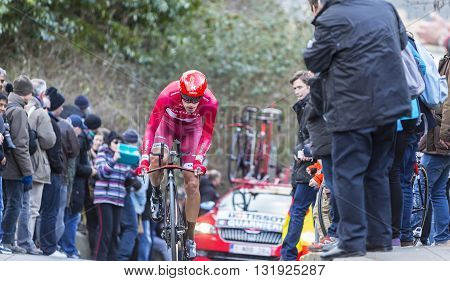 Conflans-Sainte-Honorine, France - March 6 2016: The Italian cyclist Jacopo Guarnieri of Katusha Team riding during the prologue stage of Paris-Nice 2016.