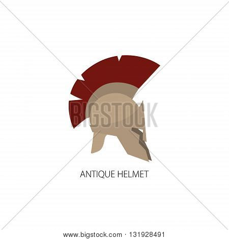 Antiques Roman or Greek Helmet Isolated on White, Helmet with a Dark Red Crest of Feathers or Horsehair with Slits for the Eyes and Mouth, Vector Illustration