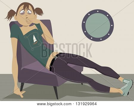 Seasick. Young woman sitting at the window feeling nauseated from motion sickness