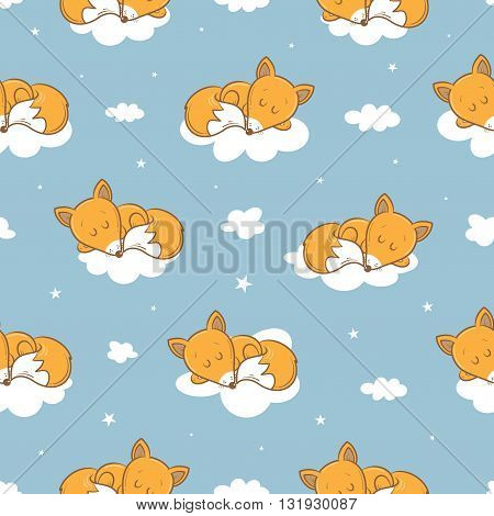 Seamless pattern with cute cartoon sleeping foxes, clouds and stars on  blue background.  Little funny animal. Bedtime. Children's illustration. Vector image.