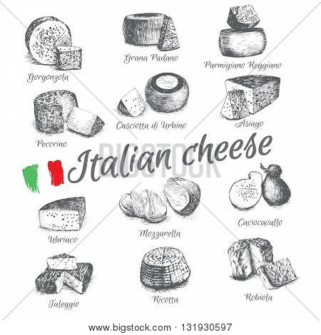 Vector illustrated Set #4 of Italian Cheese Menu. Illustrative sorts of cheese from Italy