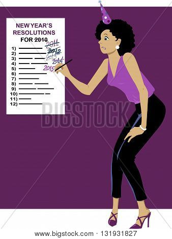 Sticking to your New Year's resolutions. Embarrassed woman in dressed up for a party changing a date to 2015 on an old New Year's Resolutions list, vector illustration, no transparencies, EPS 8