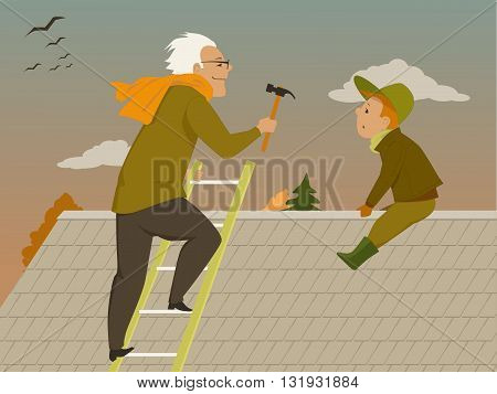 Man and boy fixing a roof, preparing a house for winter
