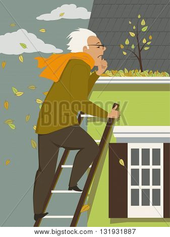 Man cleaning a rain gutter clogged with leaves