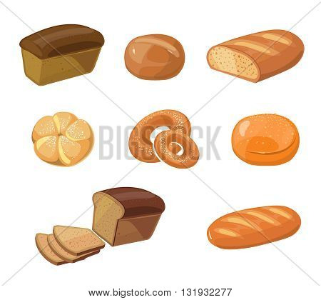 Bread bakery products vector cartoon icons. Food bakery bread icon and pastry bakery breakfast illustration