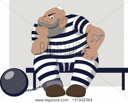 Prisoner. Sly man in a stripy prison clothes with a ball and chain sitting on a bench and smiling, vector illustration