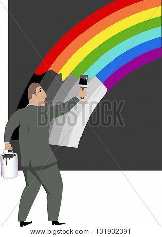 Pessimism. Sad man painting a rainbow into grayscale