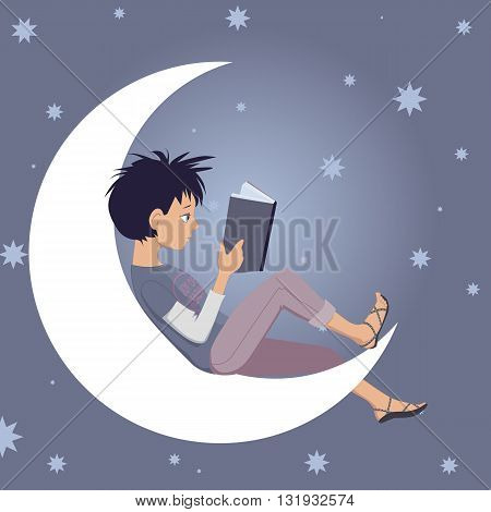 Little kid reads a book, sitting on a crescent moon, vector cartoon, no transparencies