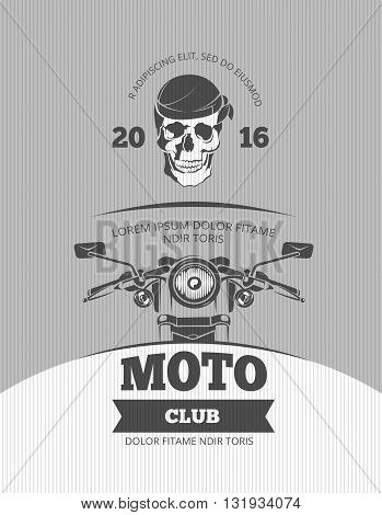 Vintage motorcycle, world bikers festival, race vector poster template. Motorcycle retro banner and poster with motocycle illustration