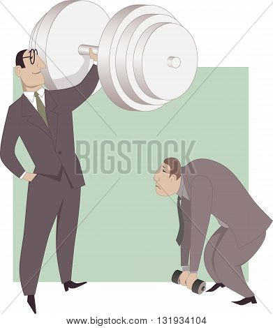Improving business performance. A businessman easily pushing a huge dumb-bell while his colleague is not able to lift a small one, a metaphor for a difference in work performance