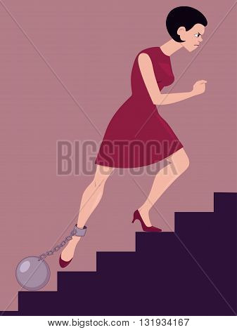 Perseverance. Determined woman climbing the stairs with a cannon ball chained to her leg