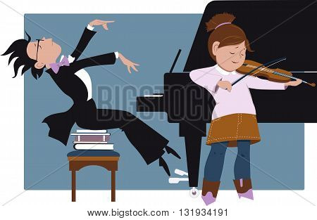 Little girl playing violin and little boy accompanying her on a piano, vector cartoon, no transparencies