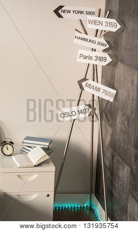 Corner of a modern room with roadsigns decoration and led strip lights