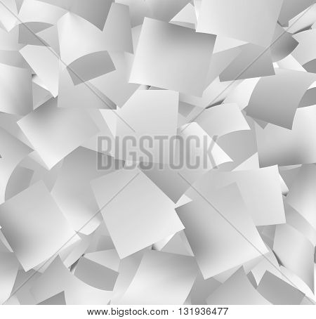 front view of a large amount of white empty papers falling down