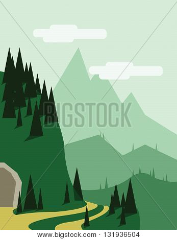 Abstract landscape with pine trees an yellow curved road a tunnel entry green hills and mountains over a light green background with white clouds. Digital vector image.