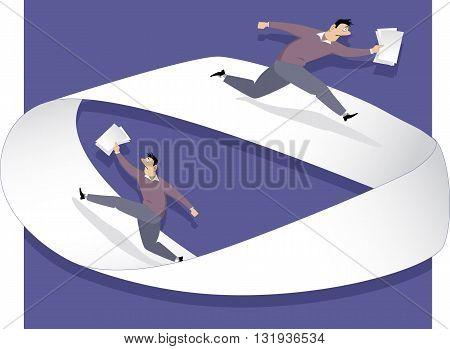 Endless bureaucracy. Man running on a Moebius strip