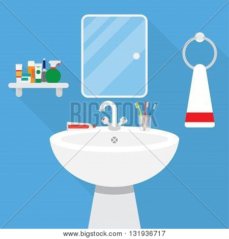 Interior of blue fresh bathroom with wash stand and mirror.