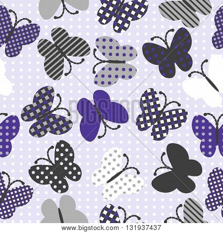 Seamless pattern with patterned butterflies, abstract background