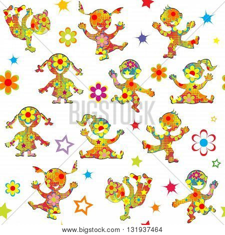 Colorful background with cartoon floral patterned kids