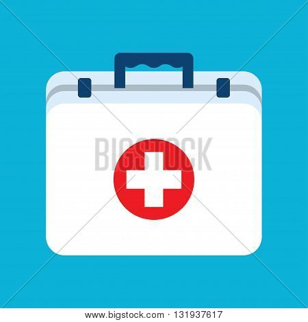 First aid kit box flat object. Medicine chest with cross and medical equipment. Medications for emergency. Healthcare flat vector illustration