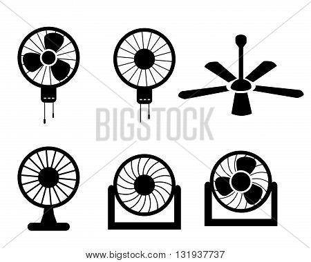 Set of fan icons in silhouette style vector object