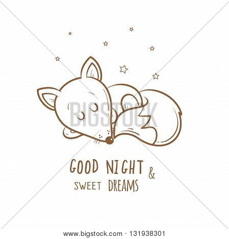 Card with cute cartoon sleeping fox. Little funny animal. Bedtime. Children's illustration. Vector contour image. Transparent background.