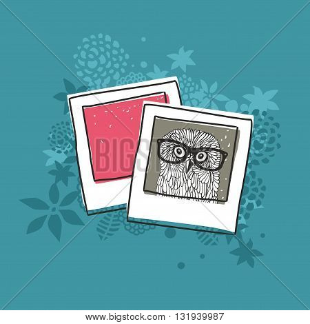 Old photo of cute owl. Vector illustration.
