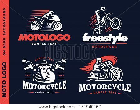 Motorcycle Shield emblem, logo design on dark background