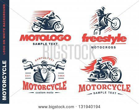 Motorcycle Shield emblem, logo design on white background.