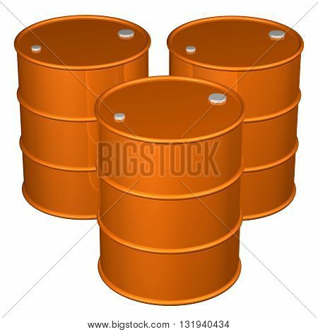 Orange barrels isolated on white background. 3D rendering.