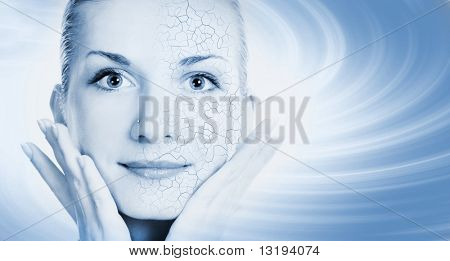 Girls face with half healthy and half itchy, dry skin poster