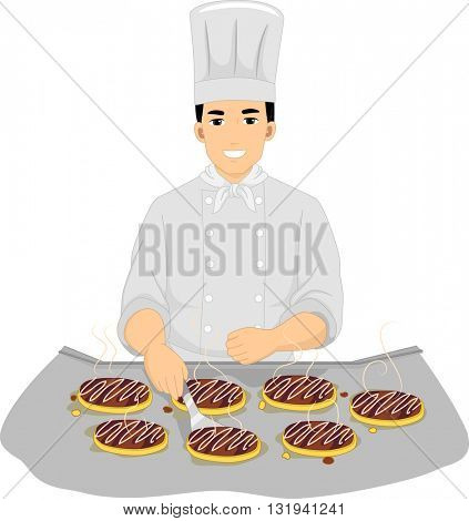 Illustration of a Male Chef Cooking Okonomiyaki