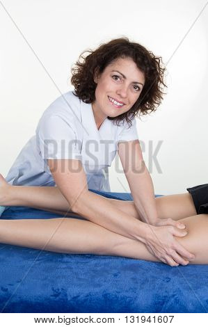 Woman Is Massaging By A Female Therapist
