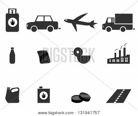 Icons for Oil Refining Fractional Distillation vector symbol