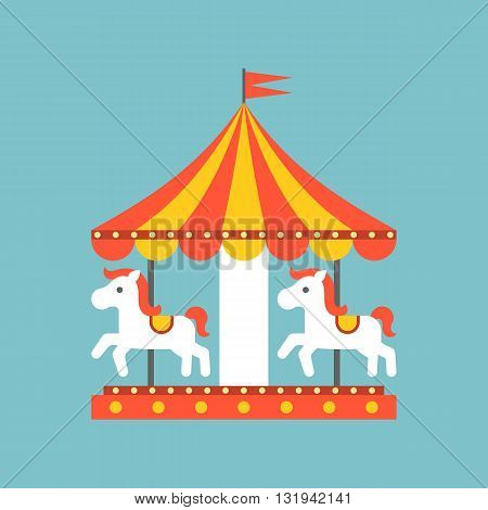 merry go round vector in funfair, merry go round icon, flat design