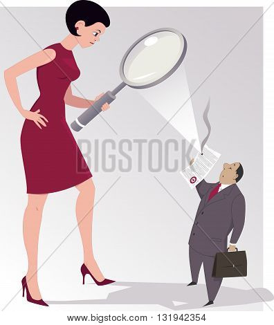 Woman studying a contract under a magnifying glass and it catching fire