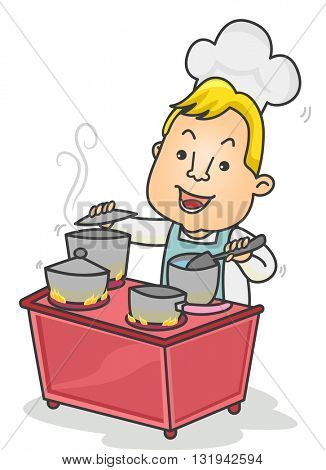 Illustration of a Chef Cooking Four Dishes Simultaneously