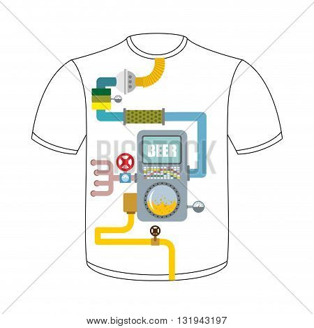 Digestive Tract Of Beer Lover. Larynx, Alcohol Tank. Filter And Valve. Pipes And Drainage. T-shirt W