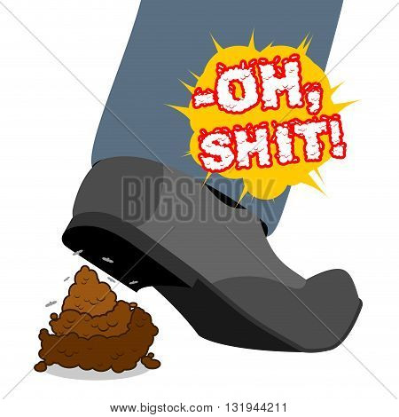 Oh Shit. Stepping Shit .piece Of Turd. Shoes And Brown Poop. Spoiled Day. Offensive Dog Excrement, F