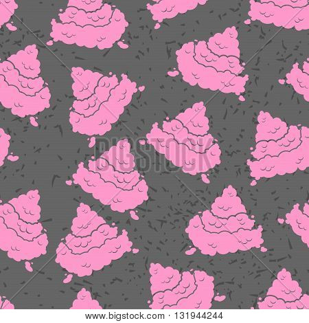 Pink Turd Seamless Pattern. Pile Of Shit Ornament. Poop Texture. Piece Of Excrement Grunge Backgroun