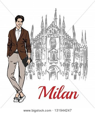 Stylish young man staying near Milan Cathedral, Duomo di Milano, piazza del Duomo in Milan, Italy