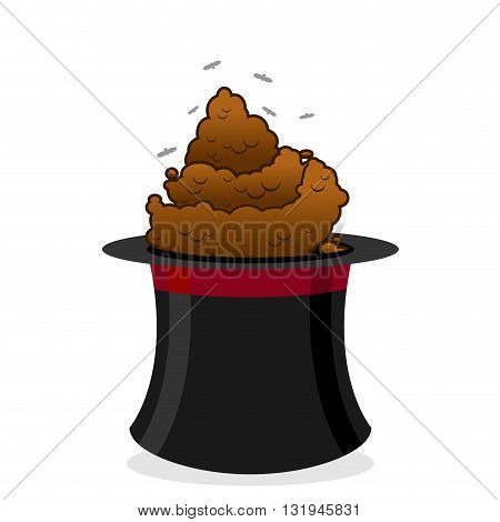 Bad focus. Piece of in hat magician. Poop and black top hat magician. Foul-smelling excrement and flies. Pile of dog feces. Brown turd poster