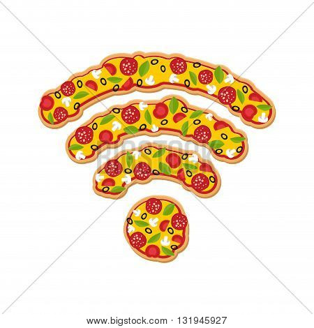 Wi Fi Pizza. Delicious Meal Wireless Transmission. Remote Access Fast Food. Wireless Network Italian