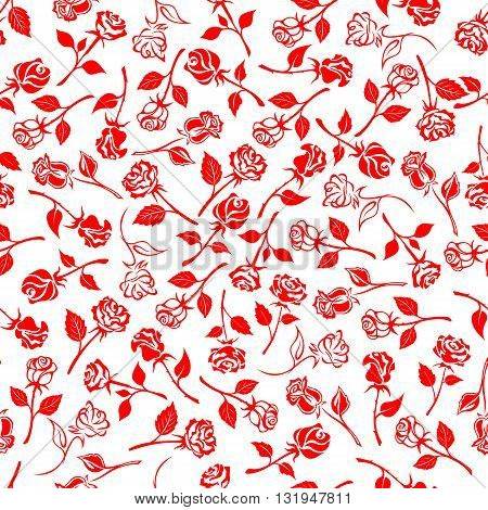Seamless bright red roses pattern over white background with beautiful blooming flowers and buds on thorny stems with carved leaves. Fabric print or wallpaper design