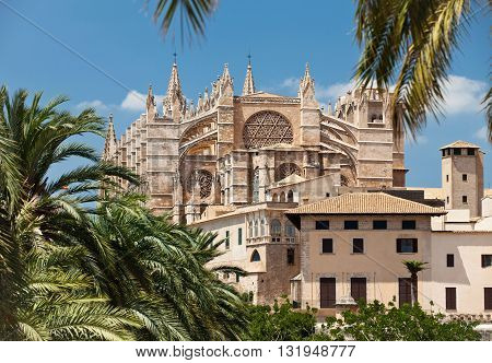 PALMA DE MALLORCA, MALLORCA - JULY 15, 2012: View of Saint Iglesia Cathedral from eastern side