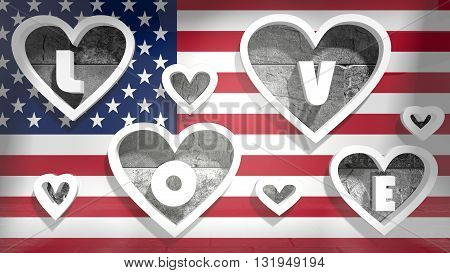 background relative to valentines day, love background usa national flag with heart shape holes. 3D rendering