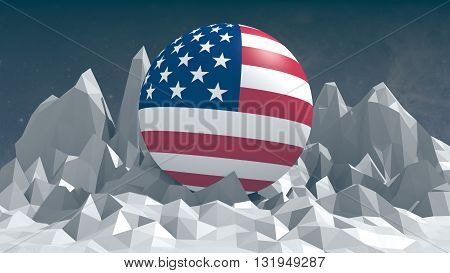 low polygonal landscape and usa flag textured sphere. 3D rendering